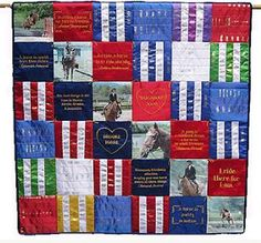 Idea for Tessa's show ribbons- maybe incorporate into a T-shirt quilt with all her old horse/riding tees.