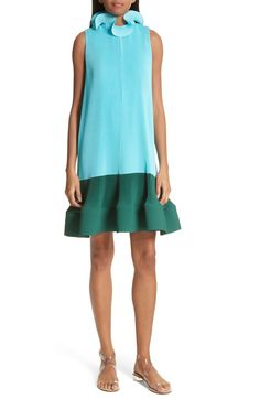 Pleating Sculptured Sleeveless Dress,                         Main,                         color, Blue/ Dark Green Multi