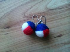 Felted earrings - tricolor