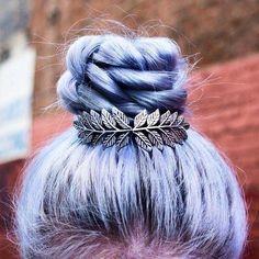 Baby blue plaited bun.