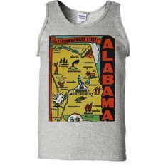 Vintage State Sticker Alabama Asst Colors Tank Top