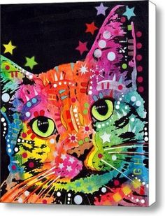 Tilted Cat Warpaint Canvas Print / Canvas Art - Artist Dean Russo