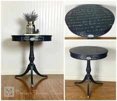 Vintage Midnight Blue French Script Drum Table with Drawer French Love Poems, French Script, Wine Cart, Shabby Chic Shelves, Vintage Door Knobs, Vintage Drums, Book Racks, Drum Table, Black Stains