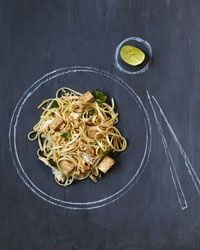 chicken pad Thai recipe using linguine instead of rice noodles, from Food & Wine.