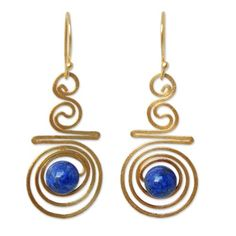NOVICA Hand Crafted Lapis Lazuli and Yellow Gold Plated Brass Earrings Follow the Dream ** You can get additional details at the image link.