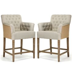 These French counter stools look so comfortable! Tufted Jute Counter Stools - Two-tone upholstery