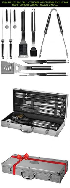 Stainless Steel BBQ Grill Accessories: 10 Piece Utensil Tool Set for Indoor Outdoor Cooking - Includes Spatula, Tongs, Brush & Carving Knife - The Perfect Gift #kit #parts #grills #tech #accessories #racing #camera #gadgets #plans #shopping #fpv #technology #products #drone