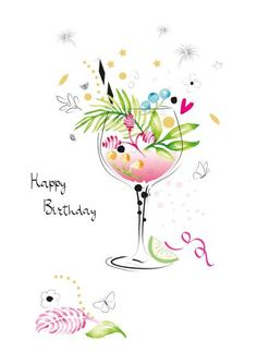 Happy Birthday Illustration, Happy Birthday Woman, Birthday Wishes And Images, Homemade Birthday Cards, Happy Birthday Greeting Card, Happy B Day, Birthdays, Quotes, Crafts