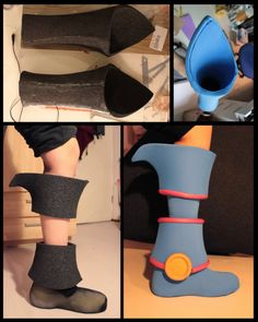 WIP - Dark Magician Girl. Here you can see some progress pictures of my DMG costume I made last year :) I made the base shapes out of foam and put blue stretchy fabric on top of it. The pink parts are made of haircurlers.