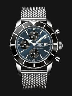 Superocean Héritage Chronographe 46 watch by Breitling - stainless steel case with black bezel and gun blue dial, steel mesh bracelet