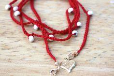 Red Love Boho Anklet Wrap Love Heart Charm Handmade by catilla, $18.00