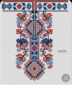 Cross Stitch Rose, Cross Stitch Embroidery, Palestinian Embroidery, Ukrainian Art, Cross Stitch Designs, Clothing Patterns, Pixel Art, Needlepoint, Diy And Crafts