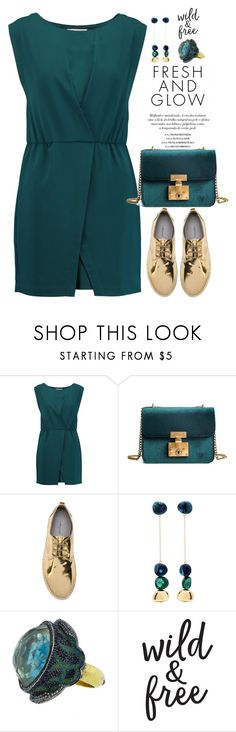 """""""Golden memories"""" by aleks-g ❤ liked on Polyvore featuring Halston Heritage, Marsèll, Dinosaur Designs, Sevan Biçakçi, gold, teal and casualoutfit"""