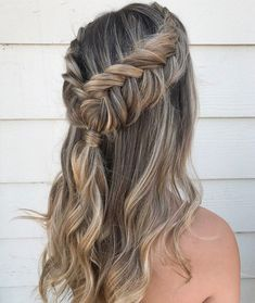 dutch crown braid into fishtail braid + twisted pony
