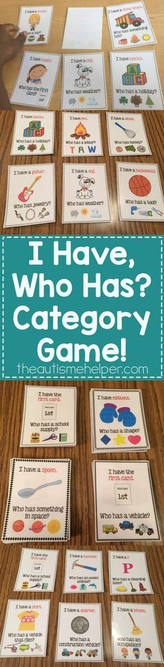 "Target categorization skills with our fun, ""I Have, Who Has?"" Category Game!! From theautismhelper.com #theautismhelper"