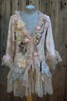 Tattered boho rococo jacket, ornate boho jacket, cotton, bohemian romantic, altered couture, embroidered details