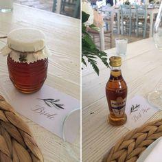 Mini honey favors, wedding favours, metaxa miniatures, destination wedding ideas, Greek Lefkada thyme honey. Wedding in Greece. Bonbonieres.
