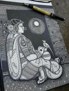 By pooja pande Doodle Art Drawing, Dark Art Drawings, Zentangle Drawings, Mandala Drawing, Pencil Art Drawings, Art Drawings Sketches, Madhubani Art, Madhubani Painting, Arte Krishna