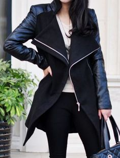 34f449cd7a039 Black Contrast Leather Long Sleeve Zipper Trench Coat Fashion leather  articles at 60 % wholesale discount prices