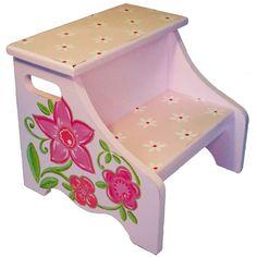 Flower Step Stool from @PoshTots #poshtots #floral #flower #stool #kids #girl #pink #design