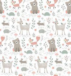 Preciosa y encantadora tela infantil con animales del bosque: osos, ciervo, tortuga, conejo, zorro,.. Tela en tonos pastel y fondo blanco.    Tela de la colección Little Ones.