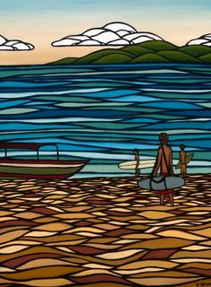 Surf Boat by Heather Brown Hanging Canvas, Canvas Frame, Heather Brown Art, North Shore Oahu, Surf City, Island Life, Street Art, Surfing, Waves