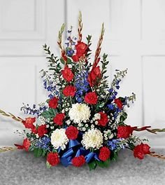 Order Greater Glory Arrangement flower arrangement from Rickey Heroman's Florist, your local Baton Rouge, LA florist. Send Greater Glory Arrangement floral arrangement throughout Baton Rouge, LA and surrounding areas. Blue Flower Arrangements, Funeral Floral Arrangements, Floral Centerpieces, Altar Flowers, Church Flowers, Funeral Flowers, Flowers Garden, Summer Flowers, Yellow Flowers