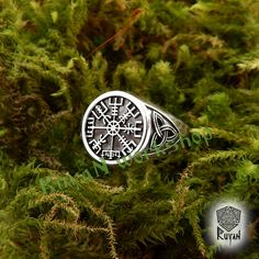 A Vegvísir (Icelandic sign post) is an Icelandic magical stave intended to help the bearer find their way through rough weather.  If your size is not in the options, please write to us and maybe well do it. Each ring is custom sized to order. Material: Sterling Silver (925), Bronze Weight Sterling Silver: approx. 11.5 g A leaf of the manuscript provides an image of the vegvísir, gives its name, and, in prose, declares that if this sign is carried, one will never lose ones way in storms or…