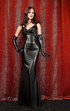 """""""Get on your hands & knees at my feet Mark Shavick! Black Leather Dresses, Black Leather Gloves, Satin Dresses, Sexy Dresses, Dress Skirt, Bodycon Dress, Beautiful Long Dresses, Leder Outfits, Latest African Fashion Dresses"""