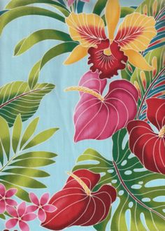 80'eu'eu Tropical Hawaiian plumeria,anthurium & orchid flowrers, apparel cotton Hawaiian vintage style fabric. Add Discount code: (Pin10) in comment box at check out for 10% off sub total at BarkclothHawaii.com