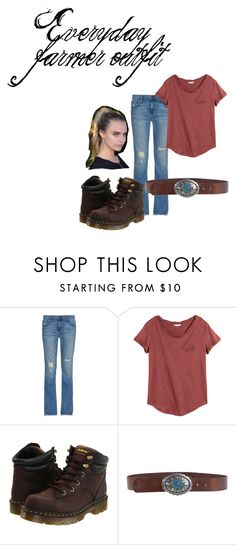 """""""everyday farmer outfit"""" by imvb on Polyvore featuring Current/Elliott, H&M, Dr. Martens and Just Cavalli"""