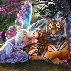 DIY Diamond Painting Needlework Diamond Mosaic Pictures Rhinestones Embroidery Fairy with Tiger Hobbies daimond painting Fantasy Kunst, Fantasy Art, Fantasy Creatures, Mythical Creatures, Art Tigre, Tiger Pictures, Cross Stitch Angels, Mosaic Pictures, Painting Pictures