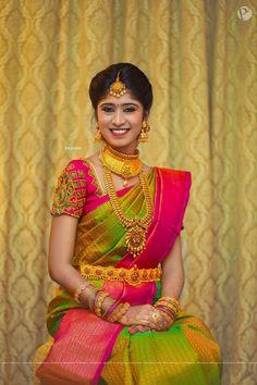 Beautiful Traditional Bridal Silk Saree - 101 Trendy Bridal Silk Sarees worn by Real Brides…! Wedding Saree Blouse Designs, Half Saree Designs, Pattu Saree Blouse Designs, Silk Saree Blouse Designs, Fancy Blouse Designs, Blouse Neck Designs, South Indian Wedding Saree, Indian Bridal Sarees, Bridal Silk Saree