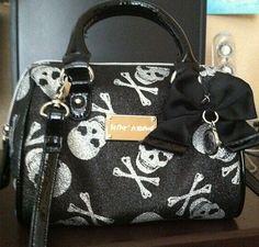 Rare Cute Punk Betsey Bow Johnson Silver Skull Glitter Satchel Handbag