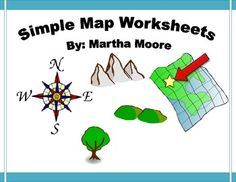 These two map worksheets are great for teaching and assessing early map skills. Students must read the maps, answer questions, and complete the compass rose.