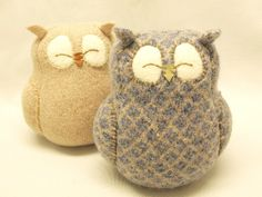 "Sleepy Owl Blue Grey and Beige Felted Wool Home Decor Lamb Wool Stuffing Eco Friendly Upcycled Height 7"". $29.00, via Etsy."
