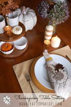 Thanksgiving Table: glitter, book pages, brown + gold  with DIY paper leaves  {Handcrafted Parties}