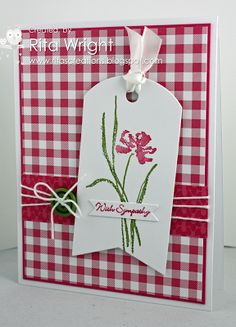 handmade sympathy card ...clean and simple design ... die cut tag with flower and sentiment as focal point ... luv the red (Melon Mambo) gingham paper for main panel ... band of  solid paper triple wrapped with white string ... sweet card!! ... Stampin' Up!