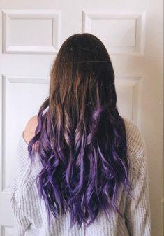 Purple on dark brown hair Brown Hair Dyed Purple, Purple Hair Tips, Purple Hair Streaks, Purple Hair Highlights, Hair Dye Tips, Hair Color Purple, Long Brown Hair, Hair Dye Colors, Hair Color For Black Hair
