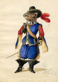 Carnevale: cane moschettiere. Da un album di disegni del XVII secolo conservato alla Bibliothèque Nationale de France.