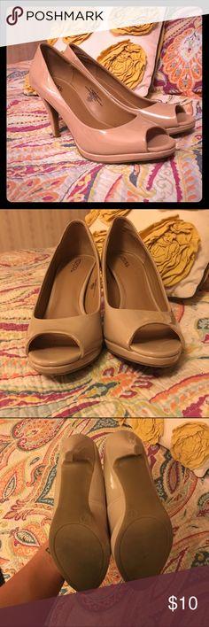 Nude Merona heels Size 7 nude Merona peep toe  heels from target. Only worn twice! Merona Shoes Heels