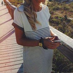 ZANZEA Summer 2016 Women Short Sleeve O-Neck Striped Mini Dress Casual Patchwork Blouse Tops Dresses Vestido De Festa Plus Size