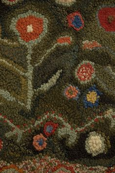 Hooked Rug with Flowers | From a unique collection of antique and modern north and south american rugs at http://www.1stdibs.com/furniture/rugs-carpets/north-and-south-american/