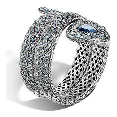 John Hardy Legends Cobra Blue Topaz Bracelet (15.300 BRL) ❤ liked on Polyvore featuring jewelry, bracelets, glitter jewelry, john hardy jewellery, snake jewelry, hinged cuff bracelet and bangle cuff bracelet