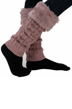 Cable Knit Faux Fur Boot Cuff Top Leg Warmers