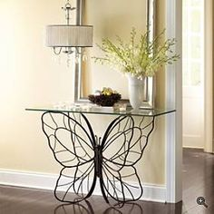 Butterfly table intricate iron base- Would look good in the solarium Butterfly Table, Monarch Butterfly, Iron Table, Grandin Road, Modern Industrial, Industrial Industry, Design Industrial, Console Table, Wrought Iron