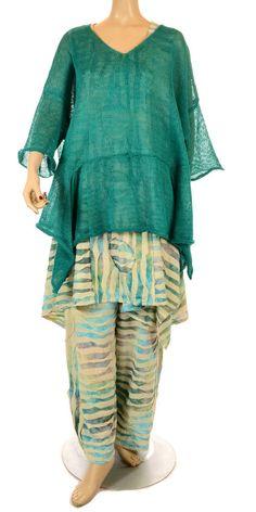 Sinne Beautiful Aqua Green Asymmetric Linen Knit-Sinne, lagenlook, womens plus size UK clothing, ladies plus size lagenlook fashion clothing