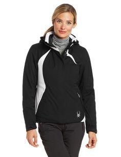 Kora in basic black with white trim on her ski jacket.