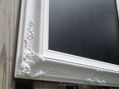 "WHITE FRAMED CHALKBOARD 31""x27"" Baroque LaRGE Wedding Chalkboard Magnetic Modern Home Decor White Framed Chalk board. $159.00, via Etsy."