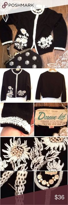 Vintage black sweater Vintage black cardigan with white beading around neckline, sleeves, front with a flower design; the enclosure is hook and eye; it is in excellent vintage condition; there is one place on the bottom front that the beading is loose; can be fixed; size 40; fits 8/10 Vintage Sweaters Cardigans